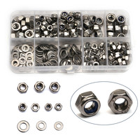 255PCS M4/M5/M6 Stainless Steel Hexagon Nuts Screw Nut Flat Washers Metal Ring Gaskets Plain Washer Assortment Kit With Box