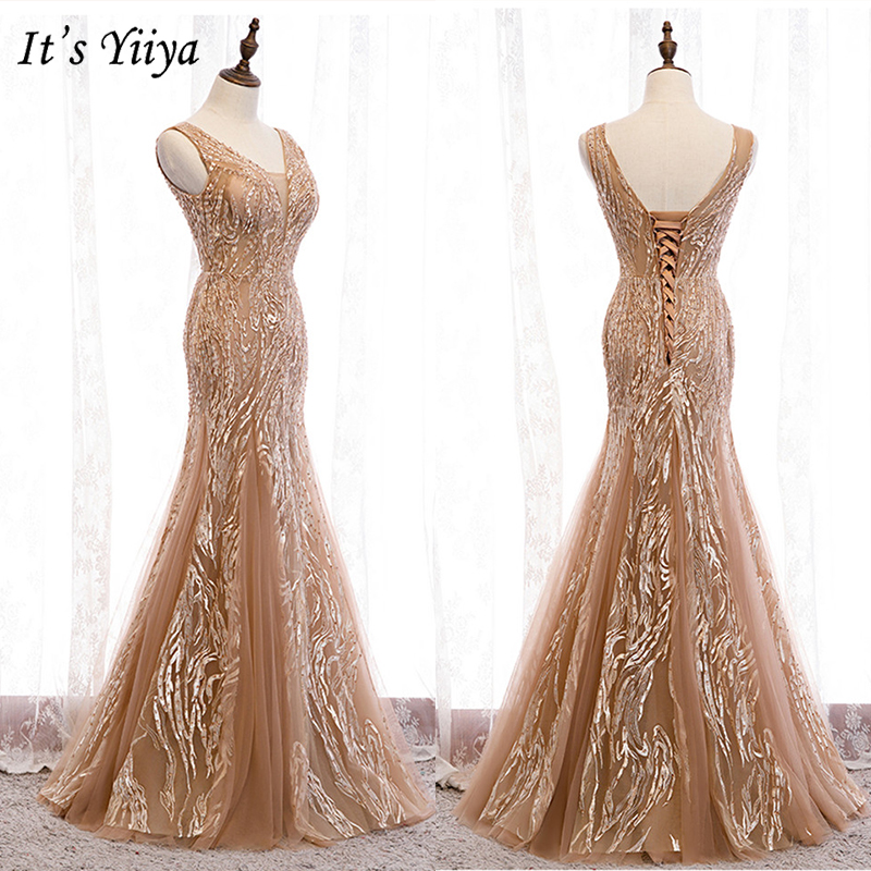 It's Yiiya Evening Dress 2019 Sequins Sleeveless V-Neck Trumpet Dresses Elegant Lace Up Long Party Formal Gowns Plus Size E977