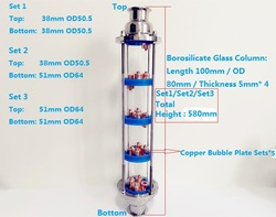 New Type 3 Distillation Lens Column With 5pcs Copper Bubble Plate Sets,Tri-Clamp Sight Glass Union Stainless Steel 304