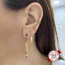 Brincos de cristal coloridos para mulheres em forma de lágrima evitar alergia 925 prata esterlina brincos para meninas festa jóias