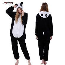 Bonito dos desenhos animados panda pijamas inverno com capuz macacão adultos feminino animal unicórnio nightie kigurumi macacão de lã