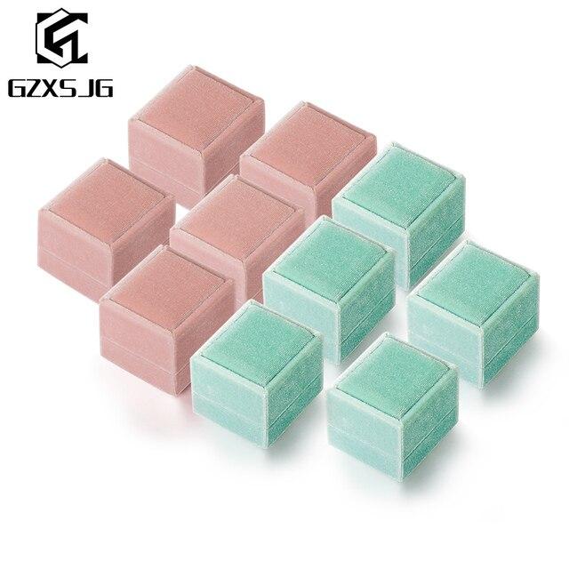 GZXSJG 10 Uds. De cajas de joyería de terciopelo, caja de anillo personalizada rectangular rosa y verde para boda, regalo de novia, compromiso vintage
