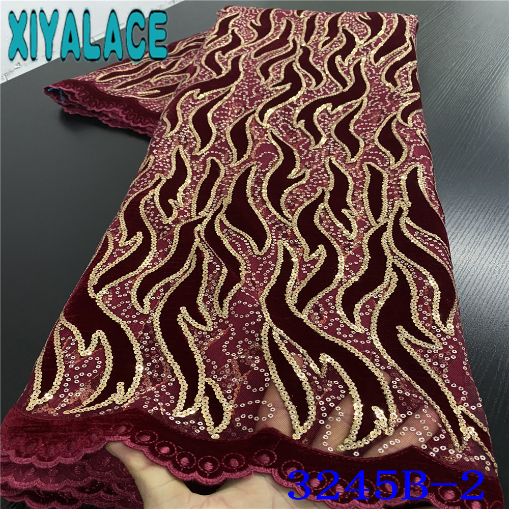 Hot Sale Velvet Lace Fabric High Quality Lace Fabric 2020 French Net Laces New Sequins Fabrics For Nigerian Wedding KS3245B