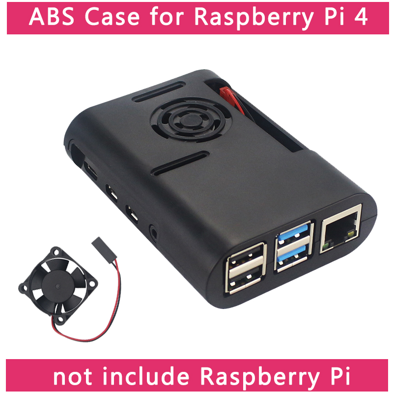 Raspberry Pi 4 Model B ABS Case Black Transparent Box Enclosure Shell Support Cooling Fan For Raspberry Pi 4