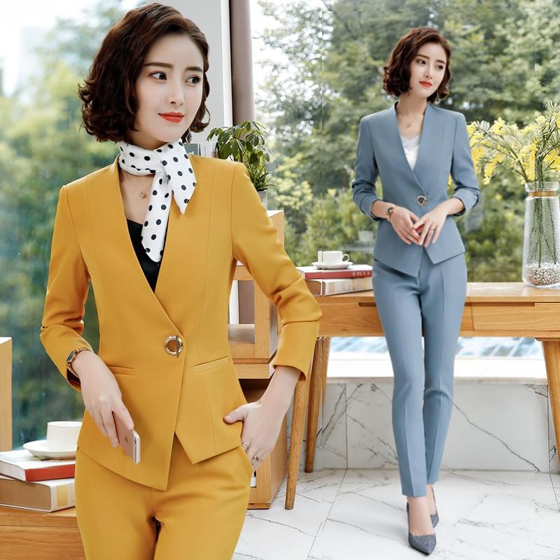 Elegant Pant Suits Women Business Work Office Lady Formal Pants Jacket Set Fashion Suit Female 2019 Autumn Winter Plus Size 4XL 32