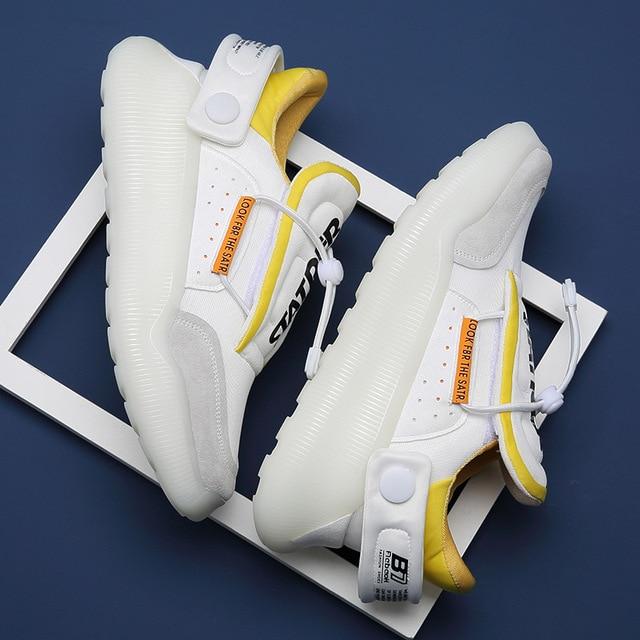 Zapatillas de deporte informales antideslizantes para hombre, calzado de Tenis con plataforma de cuero de malla transpirable, novedad de verano de 2021 4