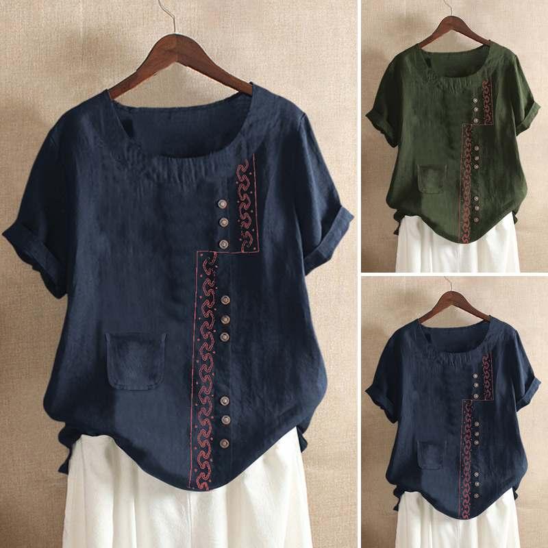 Women's Embroidery Stiching Blouse ZANZEA Elegant Tops Casual Short Sleeve Tee Shirt Female Button BLusas Plus Size Tunic 5XL
