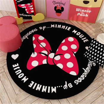 Cartoon Baby Play Mats Round Minnie Kids Rug 80/100/120/140cm Children's Carpet Mat Rug Non-slip Living Room Mat Gift недорого