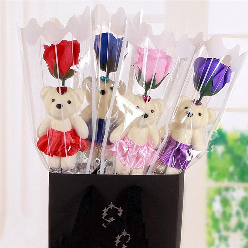 Одиночный медведь, роза, имитация мыла, цветок, день рождения, День Святого Валентина, праздничные вечерние, свадебные сувениры, индивидуальный подарок для девушки