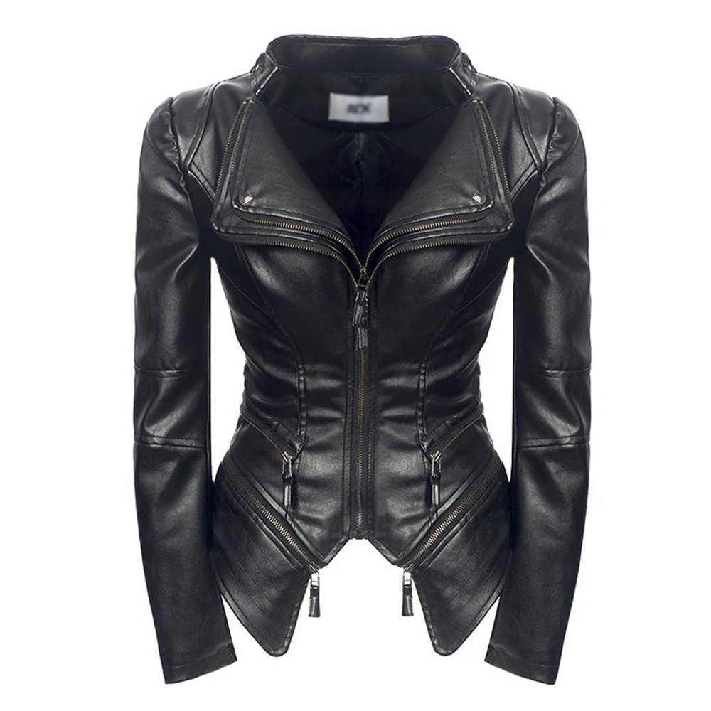 Black Faux Leather Jacket Women Turn-Down Collar Zipper Motorcycle Coat Short Gothic Punk PU Leather Biker Jackets Blouson Cuir