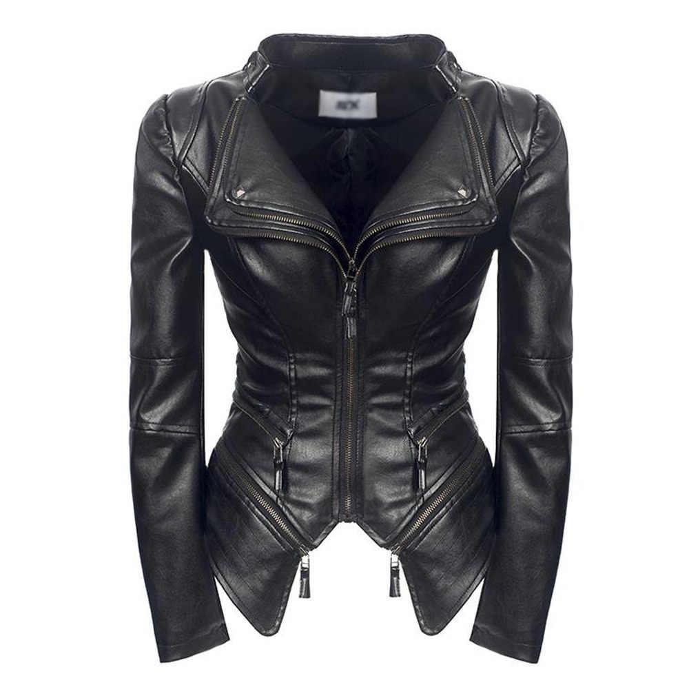 ブラックフェイクレザージャケット女性ターンダウン襟ジッパーオートバイコートショートゴシックパンク Pu レザーバイカージャケットブルゾンクイル