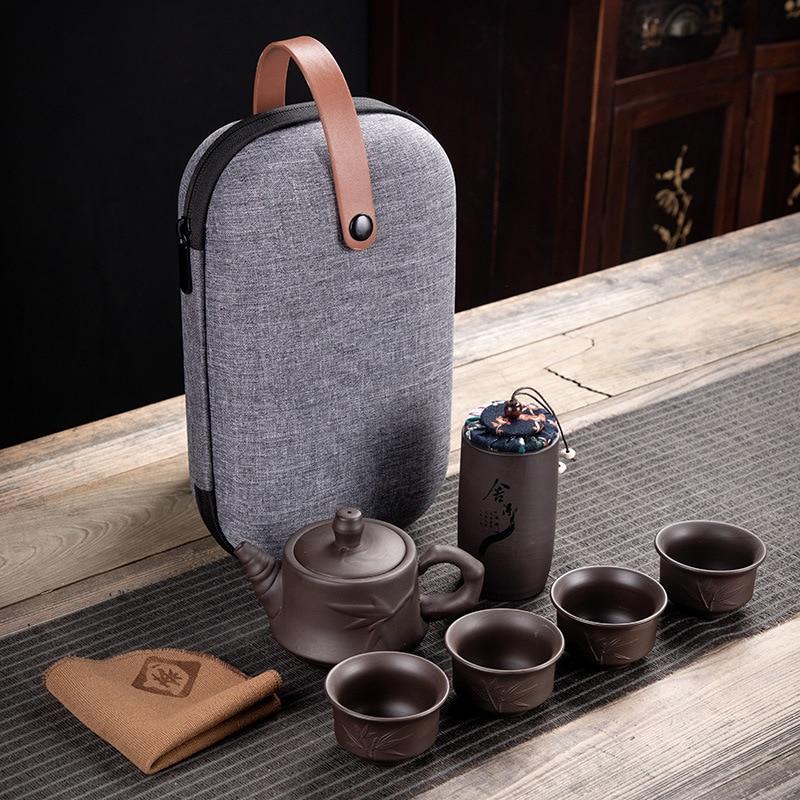 Purple Clay Kung Fu Teapot 230ml Chinese Porcelain Yixing Zisha Tea Pot 4 Cups Kung Fu Travel Tea Cup Handmade Tea Pot Cup Set 7