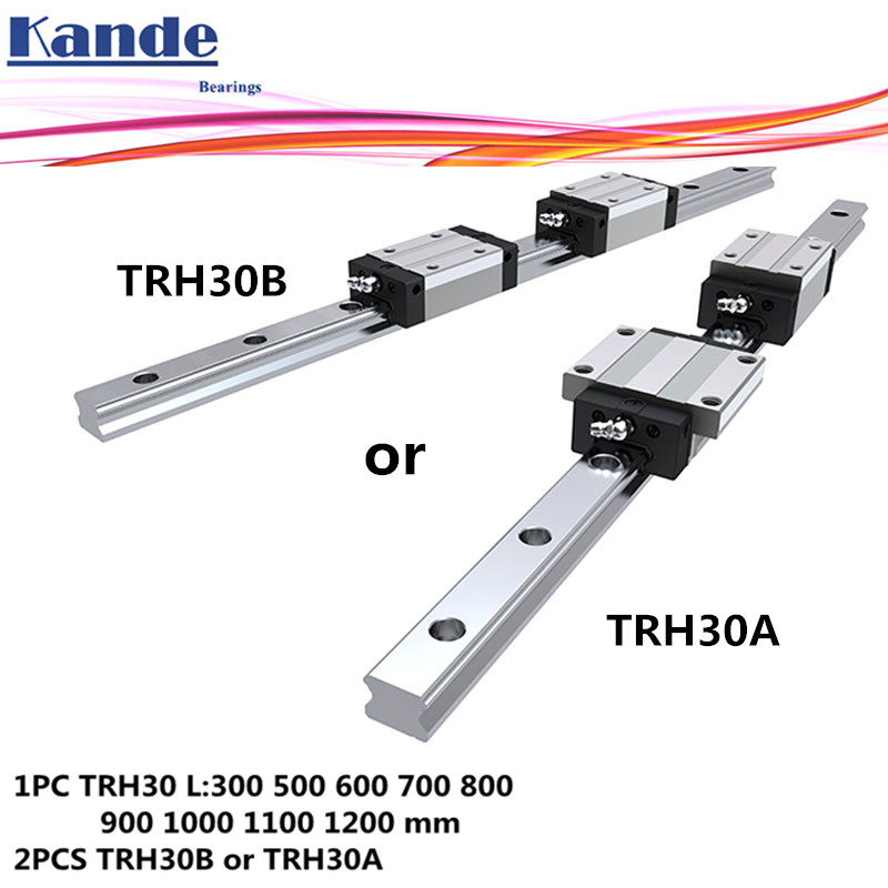 Precision rail 1PC TRH30 Linear guide + 2PCS TRH30B Block or TRH30A Flange Block L 300-1200 mm for CNC