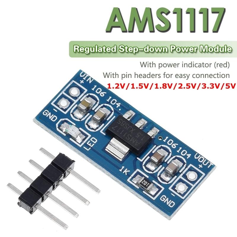 2 pces ams1117 1.2v 1.5v 1.8v 2.5v 3.3v 5v módulo de alimentação AMS1117-5.0V módulo de alimentação AMS1117-3.3V para kit diy