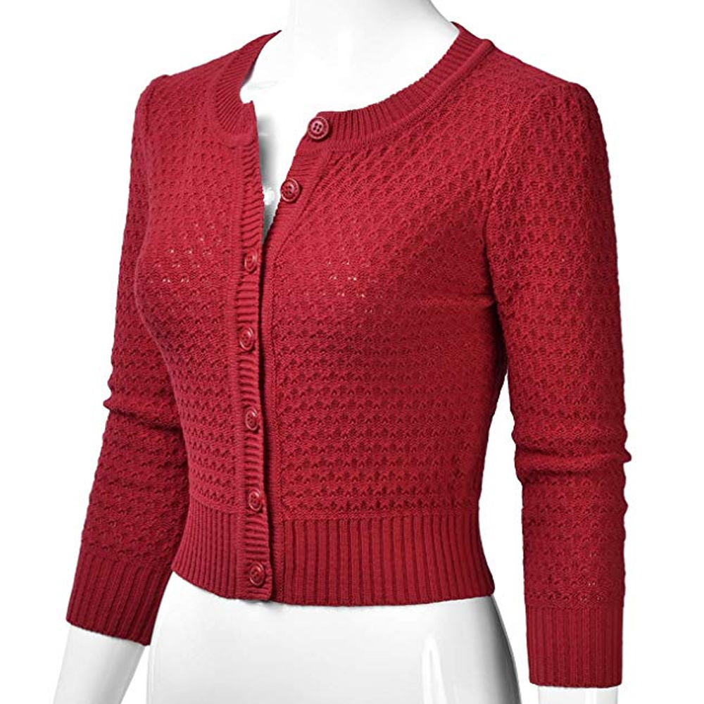 2020 New Women Spring Autumn Knitted Crop Coat Ladies Fashion Solid Button Down 3/4 Sleeve Cropped Cardigan Casual Short Coat