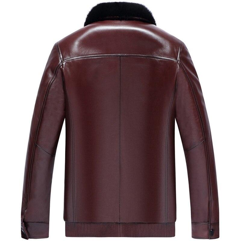Leather Jacket Winter Jacket Men Real Mink Fur Liner Coat Genuine Sheepskin Coat Plus Size Veste Homme LSY088259 MY1243