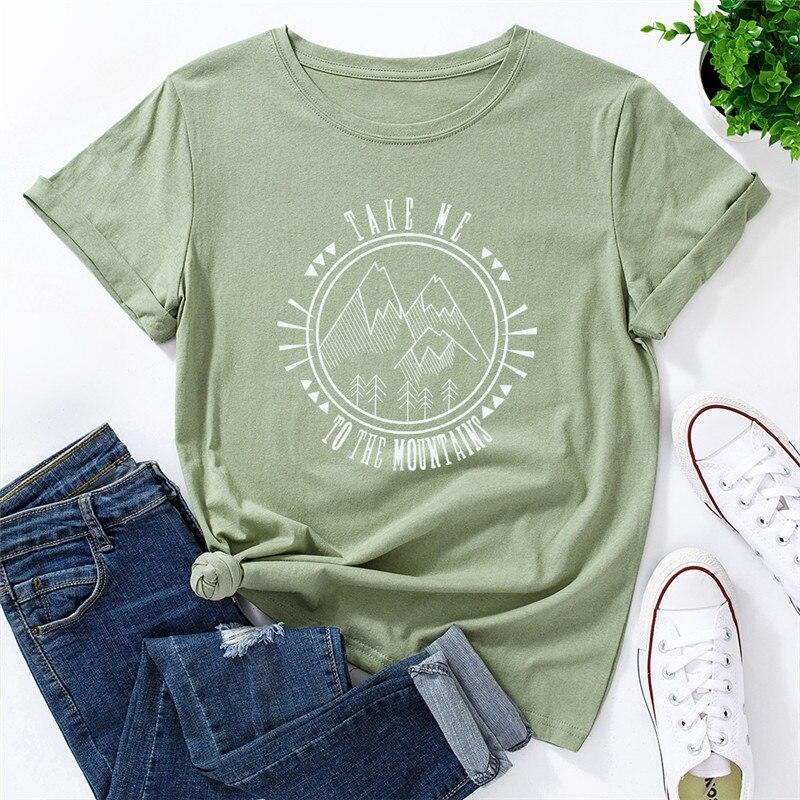 Grande taille t-shirt femmes surdimensionné hauts mode montagne imprimer chemises 100% coton femmes T-shirts col rond manches courtes T-shirts S-5XL