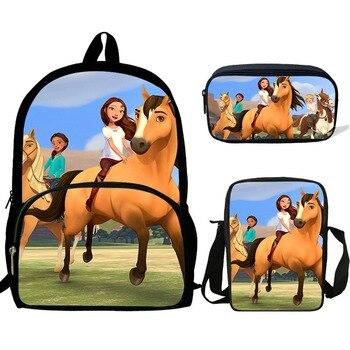 Mochilas escolares para niños de 16 pulgadas, mochilas para adolescentes, Mochila con impresión gratuita de dibujos animados para montar, Mochila para niñas, 3 paquetes de regalo 2020