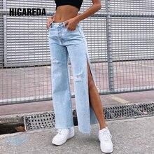 Higareda повседневные Разделение пикантные джинсовые штаны женские
