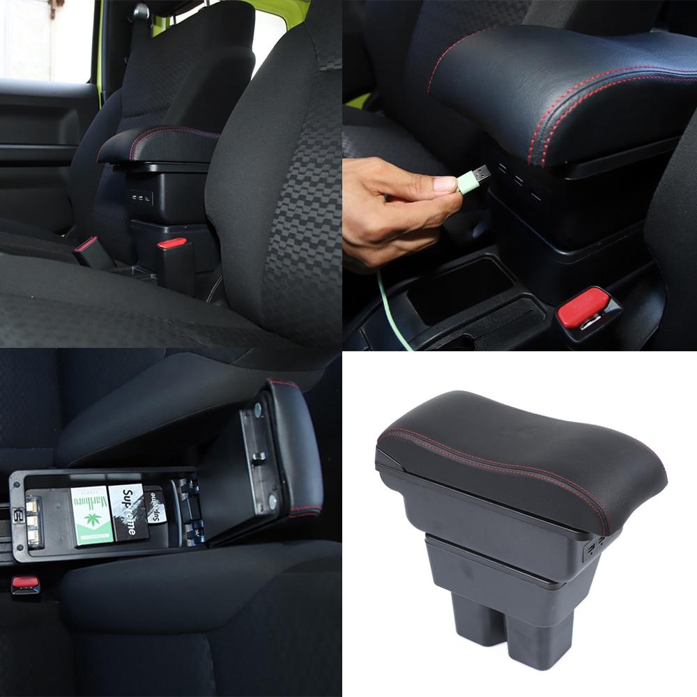 Armlehne Box Lagerung Fach Organizer Verstauen Aufräumen USB Buchse für Suzuki Jimny 2019 2020 JB74 Auto Zubehör ABS Leder Schwarz