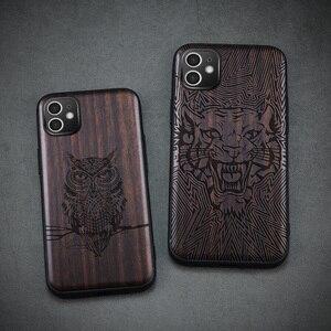 Image 1 - Funda de madera de ébano para iPhone 12 Pro, carcasa de parachoques de TPU tallado para iPhone 12 Pro Max