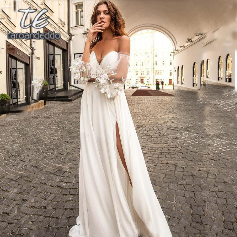 Vestido De Noiva V-Neck Pleats Half Sleeve Flower Belt Bride Dress Robe De Mariée Bohème Wedding Dress 2020