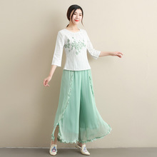 butterfly ku Beautiful Lace Chiffon Wide Leg  Chinese Style Loose Ankle-length  Female Chinese Ethnic Han Chinese