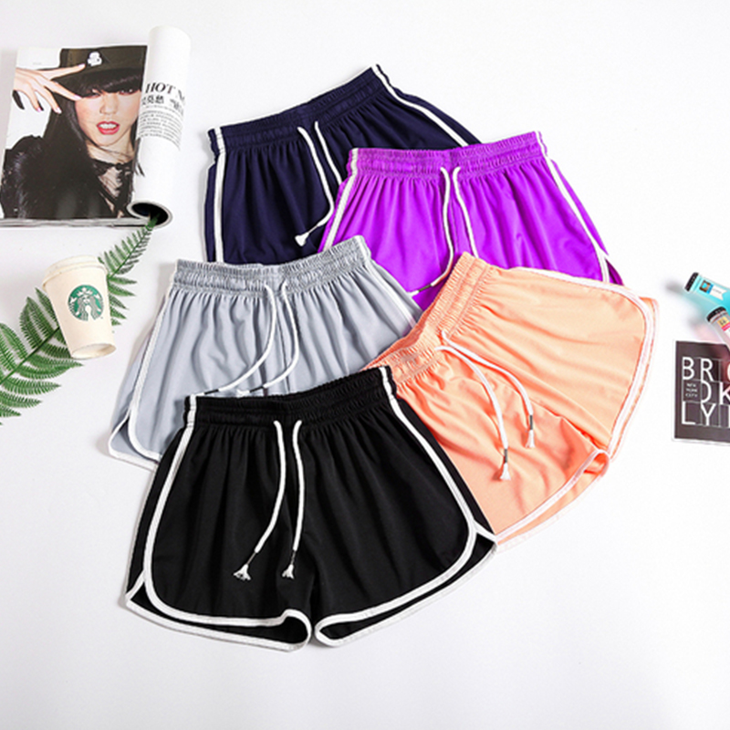 Summer  Striped Cotton Shorts Women Plus Size Loose Elastic Waist Sport Shorts Gym Running Female Korean Streetwear Sport Shorts