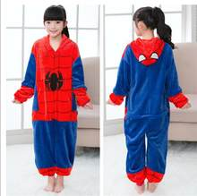 Girls Boys Winter Pajamas new Spider-Man Cartoon Anime Animal Onesies Kids Sleepwear Flannel Warm Jumpsuit Children Pajama(China)