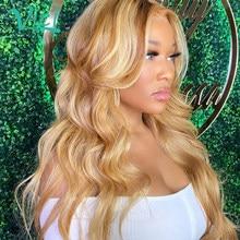 #30/27 Мёд светлые синтетические волосы на кружеве парики для чернокожих женщин Higlight объемная волна человеческих волос парики бразильских эф...