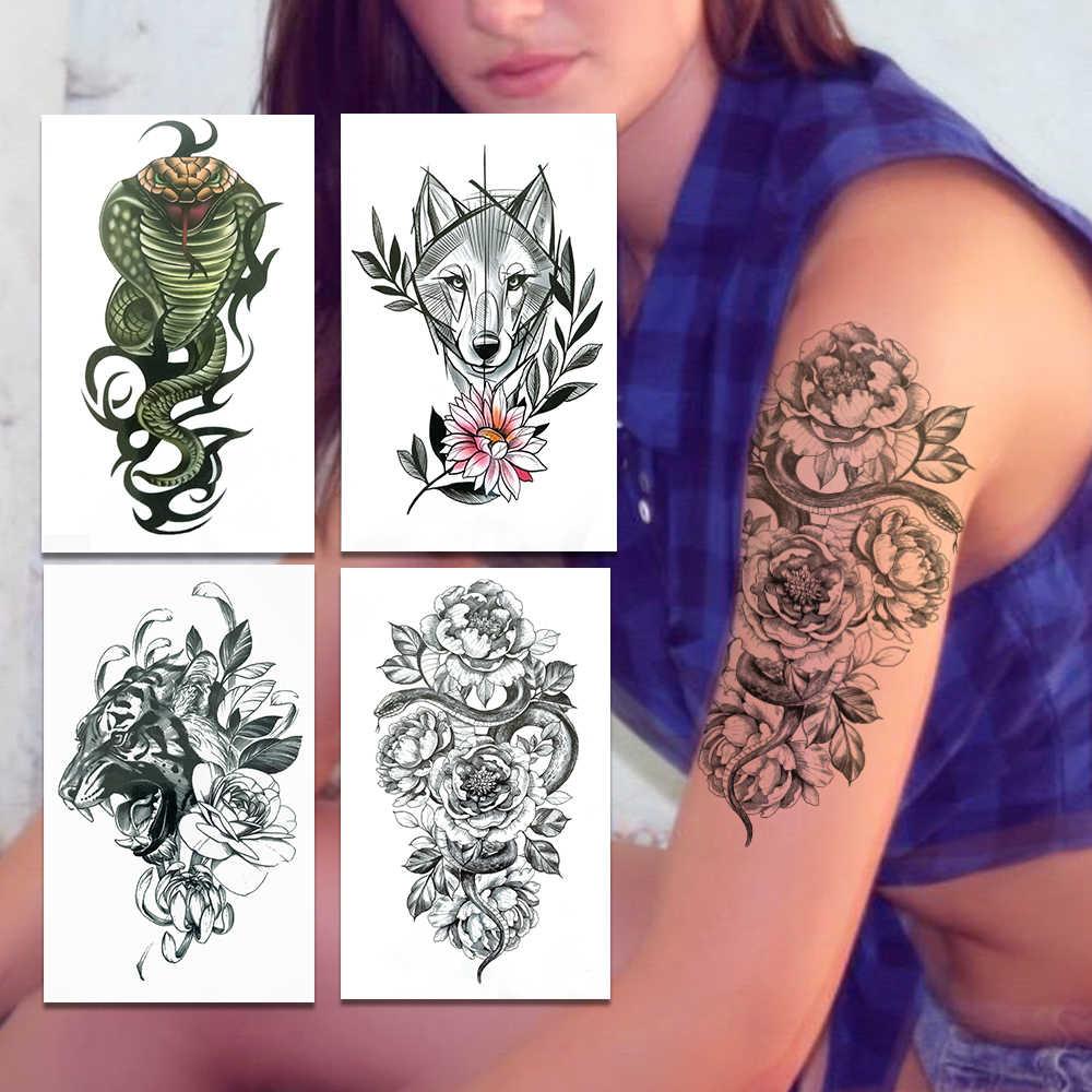 Snake Daisy Flower Temporary Tattoos For Women Men Wolf Sweat Pea Tattoo Sticker Tiger Bergamot Water Transfer Fake Tatoos Thigh