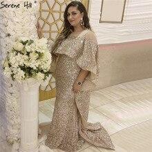 Różowe złoto cekinami Sparkle luksusowe suknie wieczorowe 2020 dubaj długi płaszcz syrenka formalne suknie Serene Hill LA60937