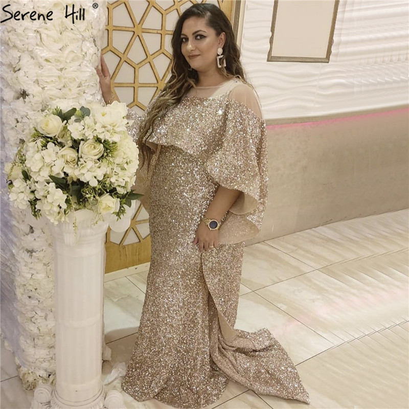 Rose Gold Long Cloak Luxury Evening Dresses 2019 Dubai Sequined Sparkle Mermaid Evening Gowns Serene Hill LA60937