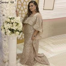 Serenhill robe de soirée longue, cape de forme sirène, or Rose, sequins, scintillante, luxueuse tenue de soirée, LA60937, Dubai 2020