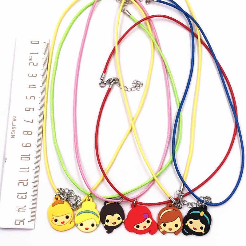 1 шт., ПВХ, ожерелье принцессы Золушки для детей, аксессуары для костюмированной вечеринки, милые Мультяшные брелоки, кожа, веревка, цепочка, ювелирные изделия