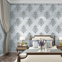 High quality European 3D luxury bedroom wallpaper Damascus non-woven living room background wall paper peacock green home decor beautiful cotton and lien luxury bedding room curtains living room curtain high quality home decor