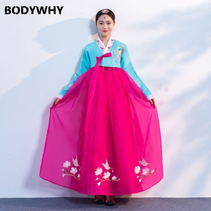 New Traditional Korean Clothing Court Etiquette Big Long And Today Improved Antique Embroidered Two-piece Set Of Spot Wholesale
