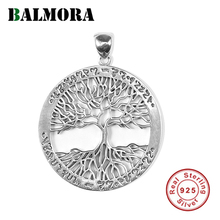 BALMORA Original 100% Real 925 Sterling Silver Tree of Life Pendant For Women Men Vintage Thai Silver Round Pendant Jewelry Gift
