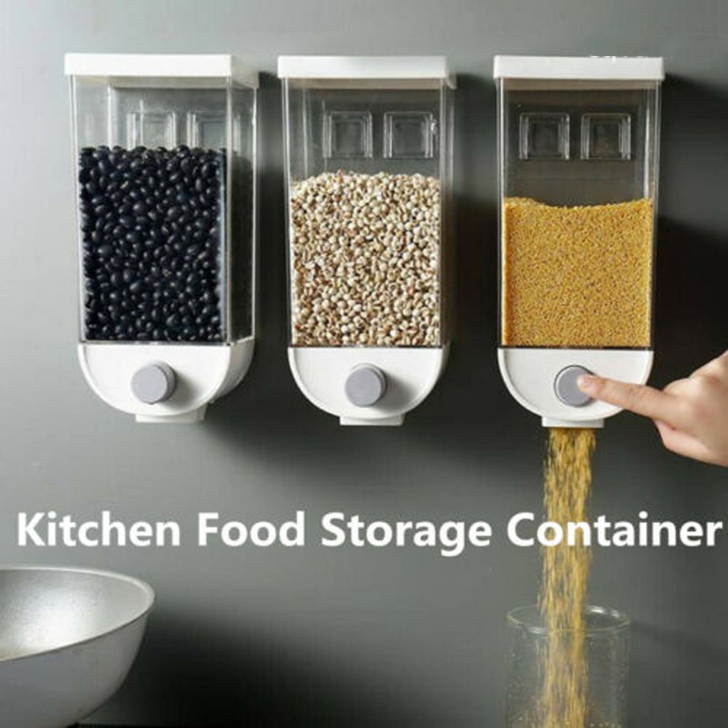 1000ML/1500ML Easy Press- Kitchen Food Storage Container Cereal Dispenser Oatmeal Wall Mounted Recipient Alimentaires @45