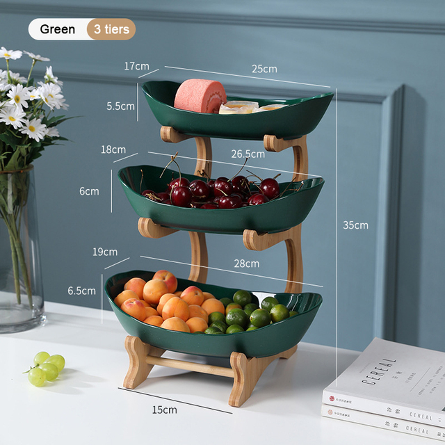 2/3 Tiers Plastic Fruit Plates With Wood Holder Oval Serving Bowls for Party Food Server Display Stand Fruit Candy Dish Shelves 4