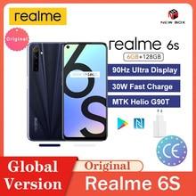 Realme için 6s 90Hz ekran 6GB 128GB Smartphone 48MP dört kameralar 4300mAh 30W hızlı şarj cep telefonu هاتف محمول سريع الشحن