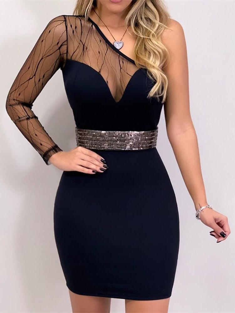 2019 Women Elegant Black <font><b>Mini</b></font> Cocktail <font><b>Party</b></font> <font><b>Dress</b></font> <font><b>Female</b></font> <font><b>Sexy</b></font> Slim Fit Sheath <font><b>Dress</b></font> One Shoulder Mesh Insert Bodycon <font><b>Dress</b></font> image