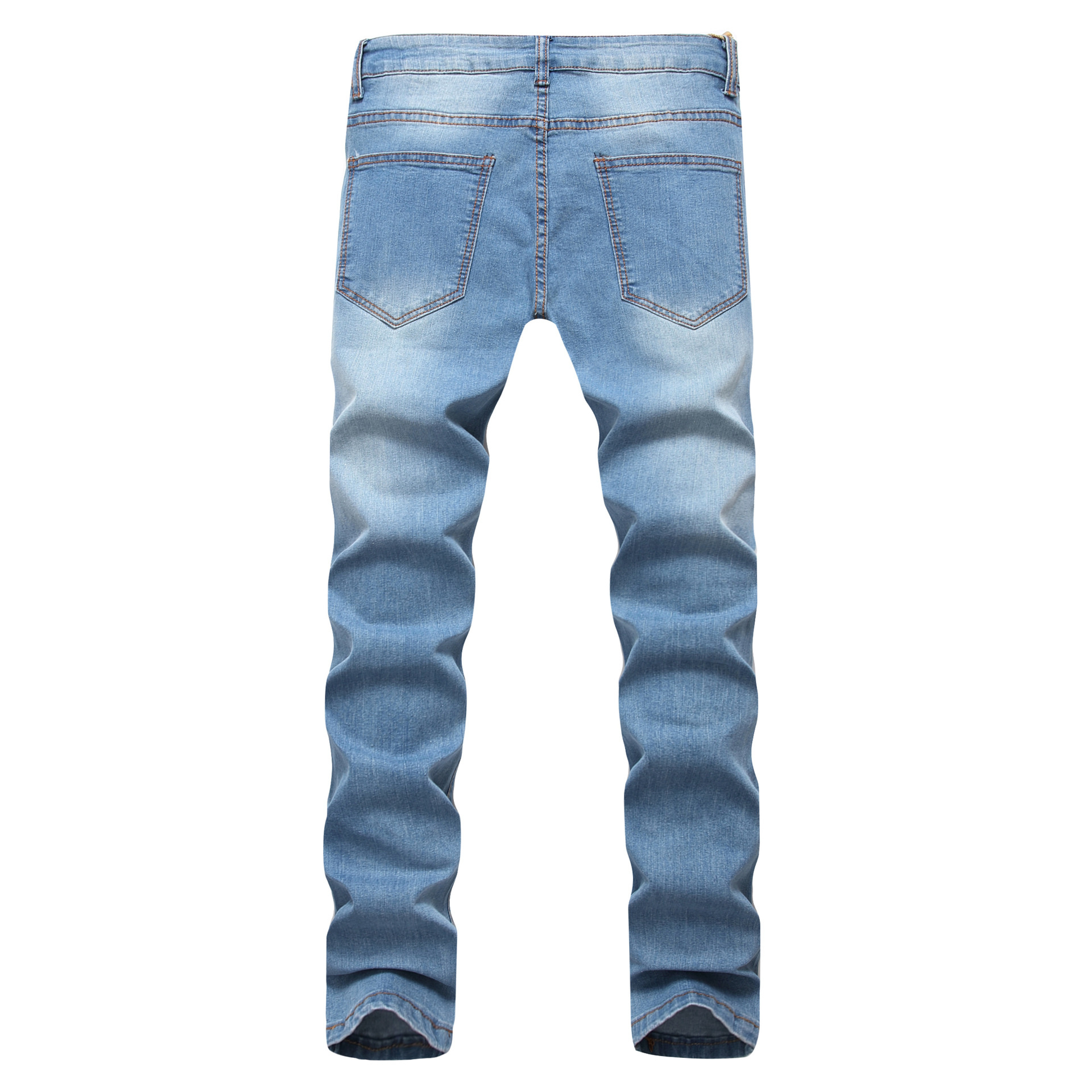 Light Blue Men With Holes Elasticity Jeans Multi-Tattered Slim Fit Men'S Wear  Foreign Cowboy Trousers