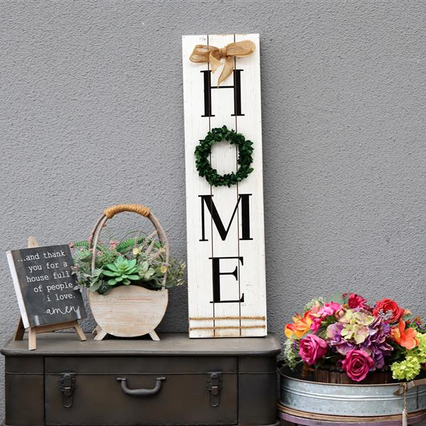 Wooden Home Plaque with Green Wreath Decoration Large Farmhouse Home Signs Plaque Wall Hanging Decor for Living Room image
