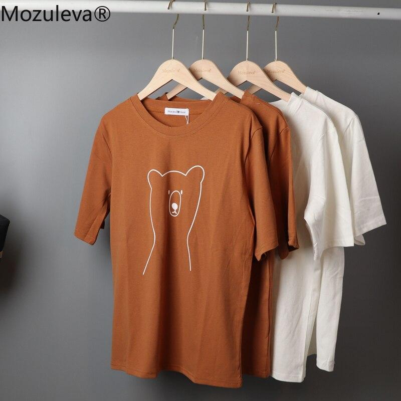 Moluleva 2020 chique dos desenhos animados urso algodão das mulheres camiseta verão de manga curta feminino t camisa primavera branco o-pescoço superior t 100% algodão