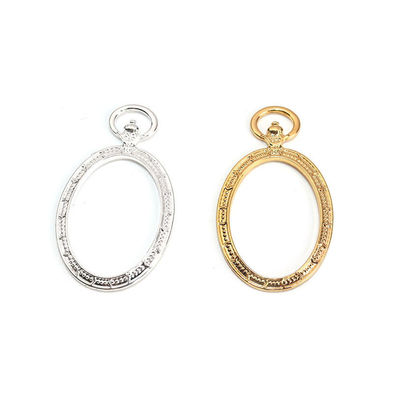 5 PCs Zinc Alloy Open Back Bezel Pendants Resin Frame Gold & Silver Pocket Watch Dot Charms For DIY Jewelry Making 5.2cm X 3.1cm