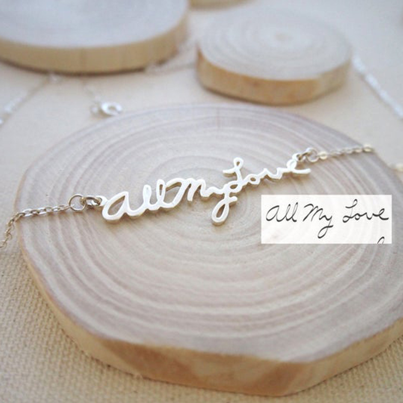 Gold Silver Custom Name Necklaces For Women Personalized Actual Handwriting Signature Long Chain Choker Necklace Boho Jewelry