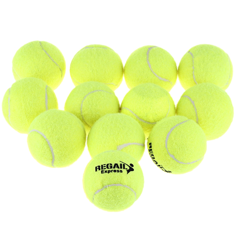 Regail 12Pcs Tennis Ball High Elasticity Training Ball Natural Rubber Competition Tennis Ball