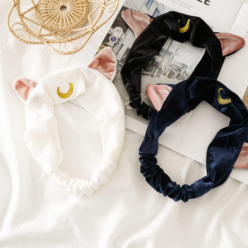 Women Cute Cat Ear Coral Fleece Headband Wash Face Soft Hair Holder Moon Print Elastic Hairbands Girl Headwear Hair Accessories