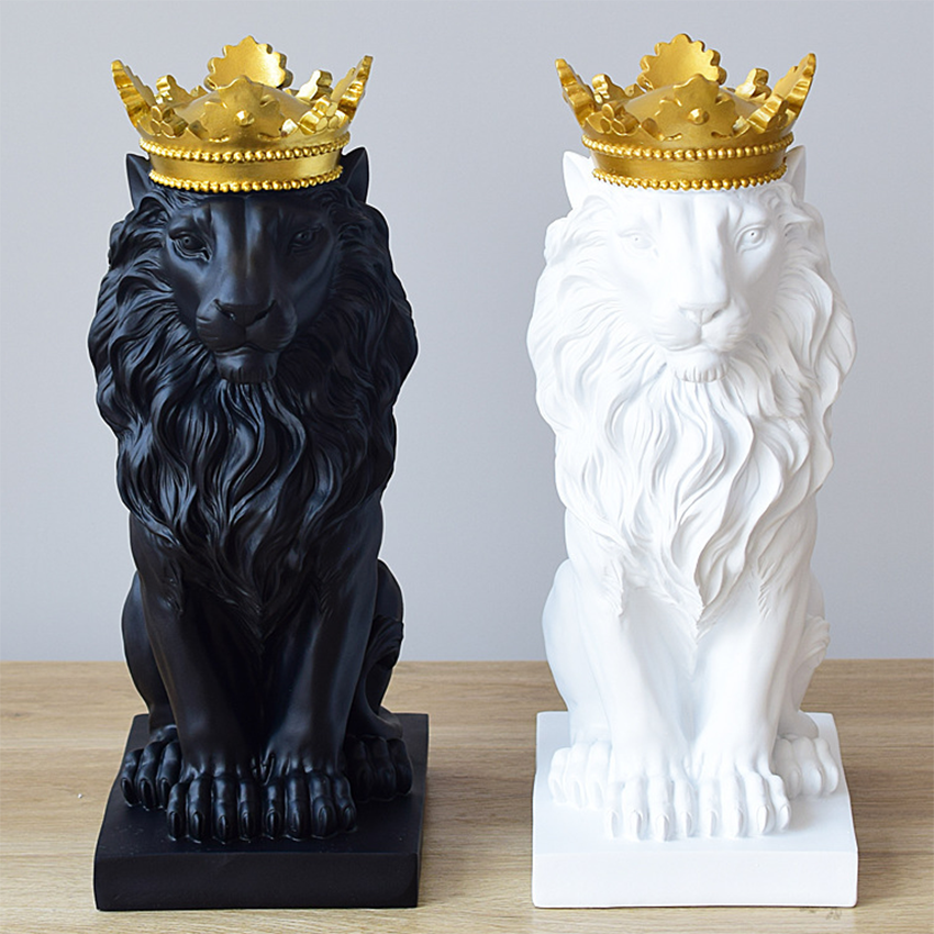 Lion Statues For Decoration Lion Statue Nordic Resin Figurine/Sculpture Model Animal Abstract Nordic Decoration Home